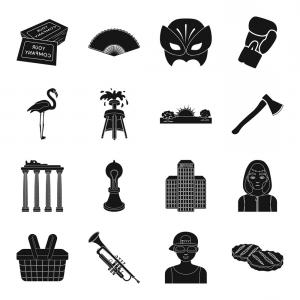 Belgium Theatre Vector Icons: Architecture Sport Theater And Other Web Icon In Vector