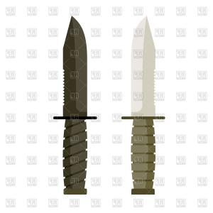 Vector Army Knife: Photostock Vector Army Knife Military Knife Steel Wooden Vector Illustration