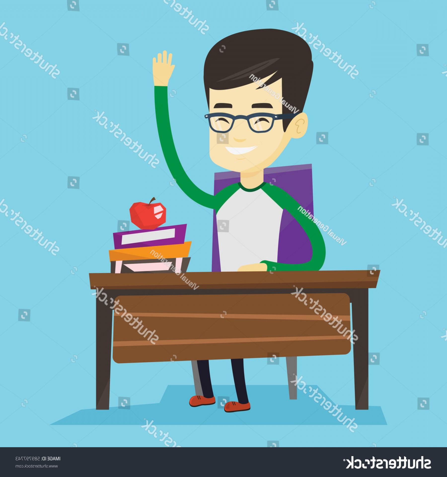 Asian Student Vector: Asian Student Sitting Desk Raised Hand