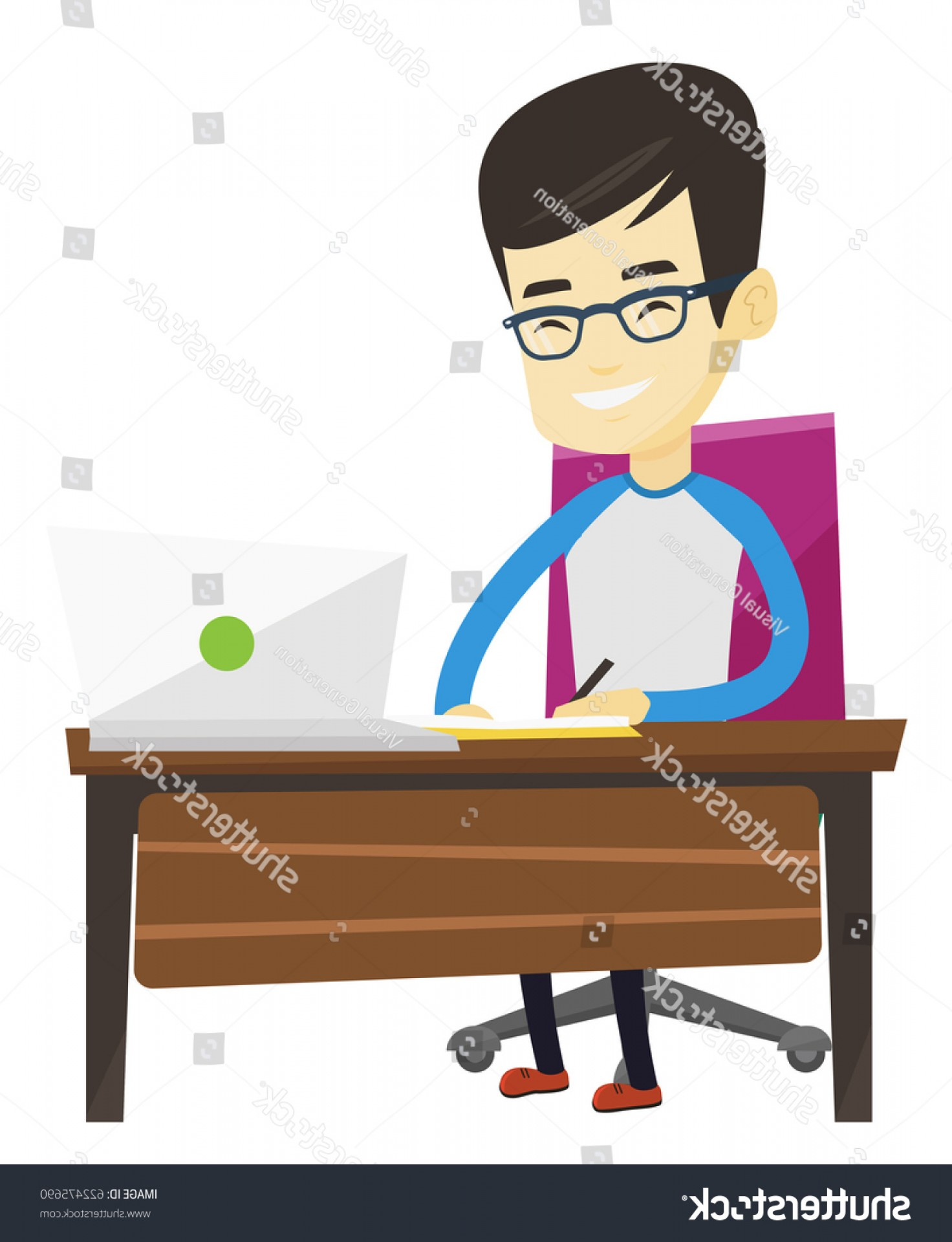 Asian Student Vector: Asian Student Sitting Table Using Laptop