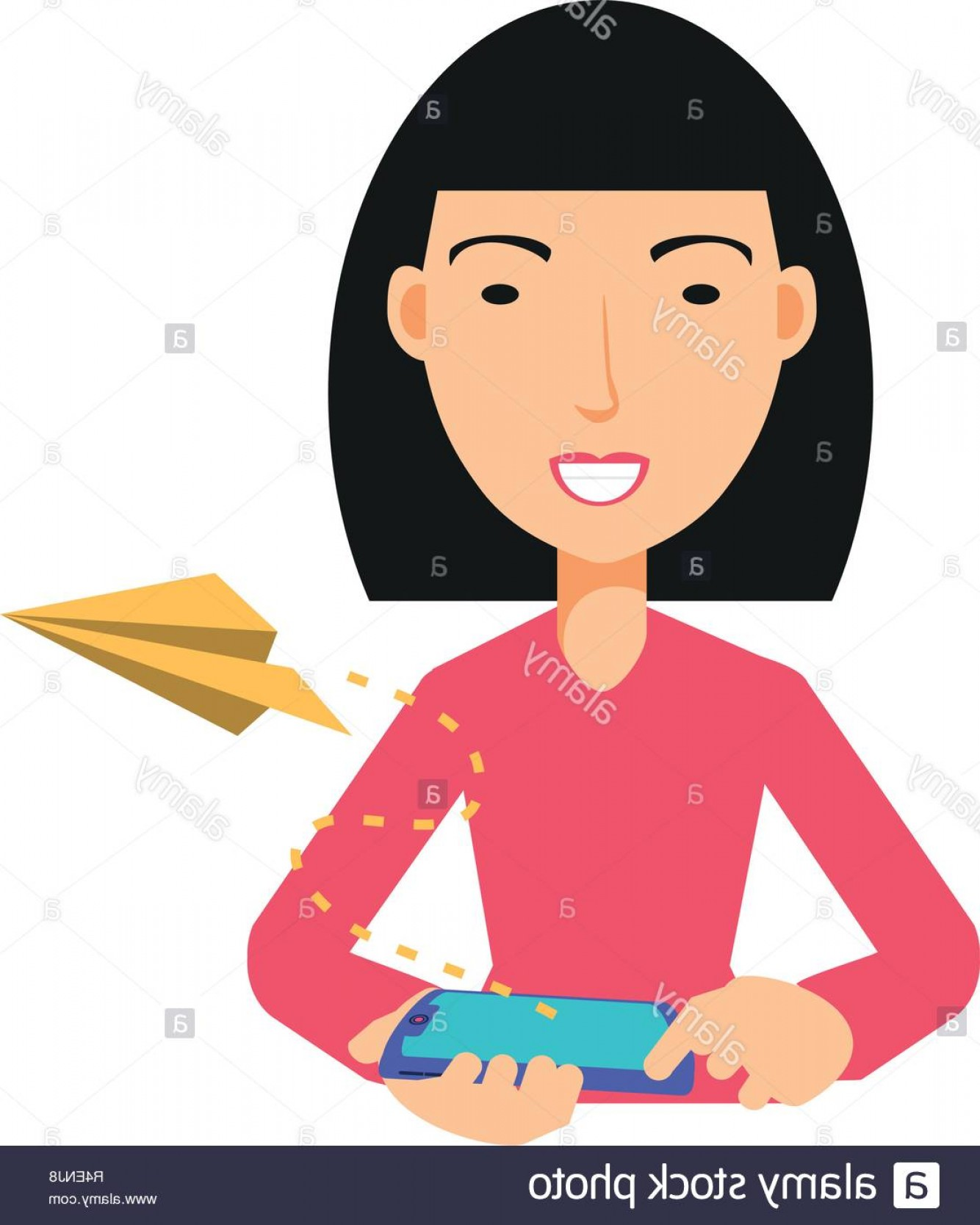 Asian Woman Vector: Asian Woman Using Smartphone And Airplane Paper Vector Illustration Image