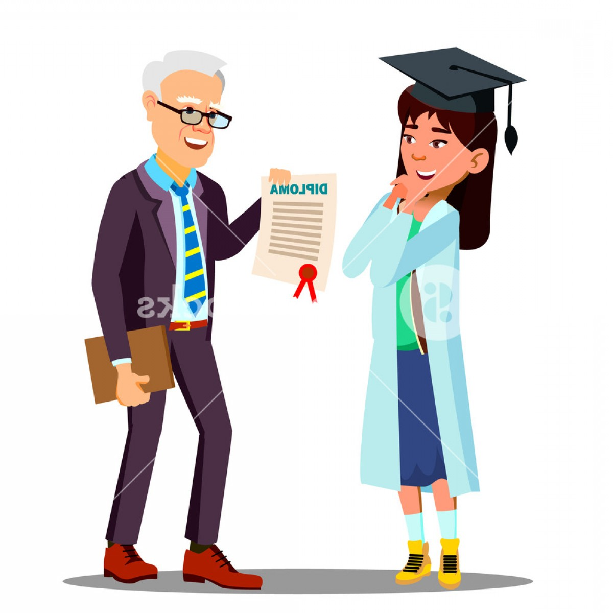 Standing Diploma Vector: Asian Young Girl Student Doctor Receiving A Diploma Vector Isolated Cartoon Illustration Hrcizlryejpbjeg