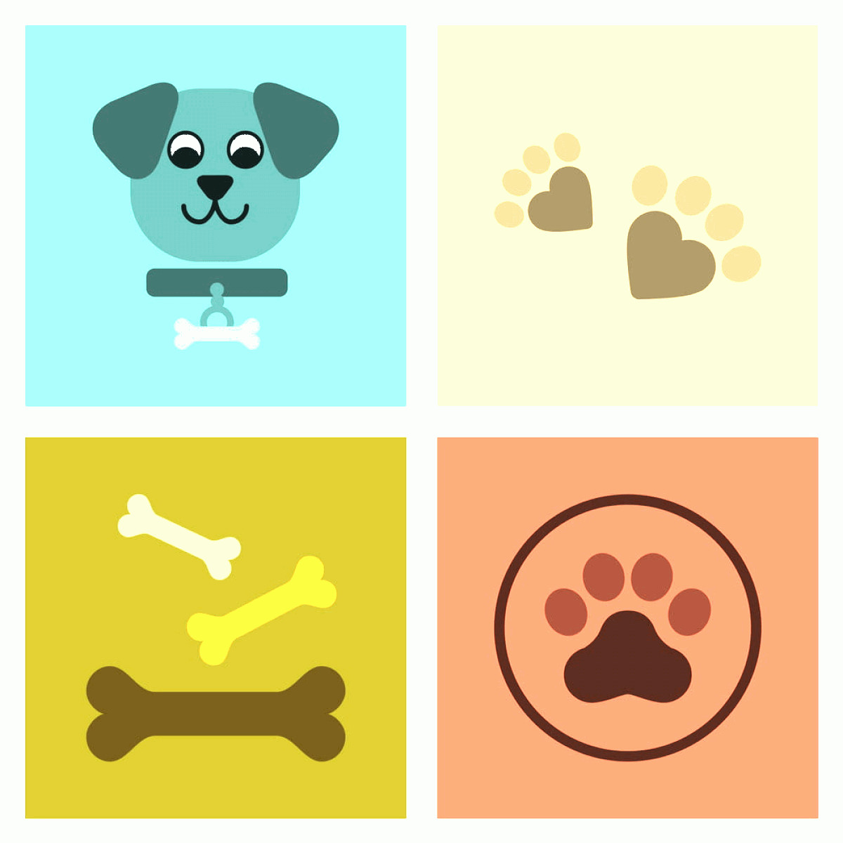 Dog Bone Vector Graphics: Assembly Flat Icons Traces Of Dog Bones Vector Ai Eps File