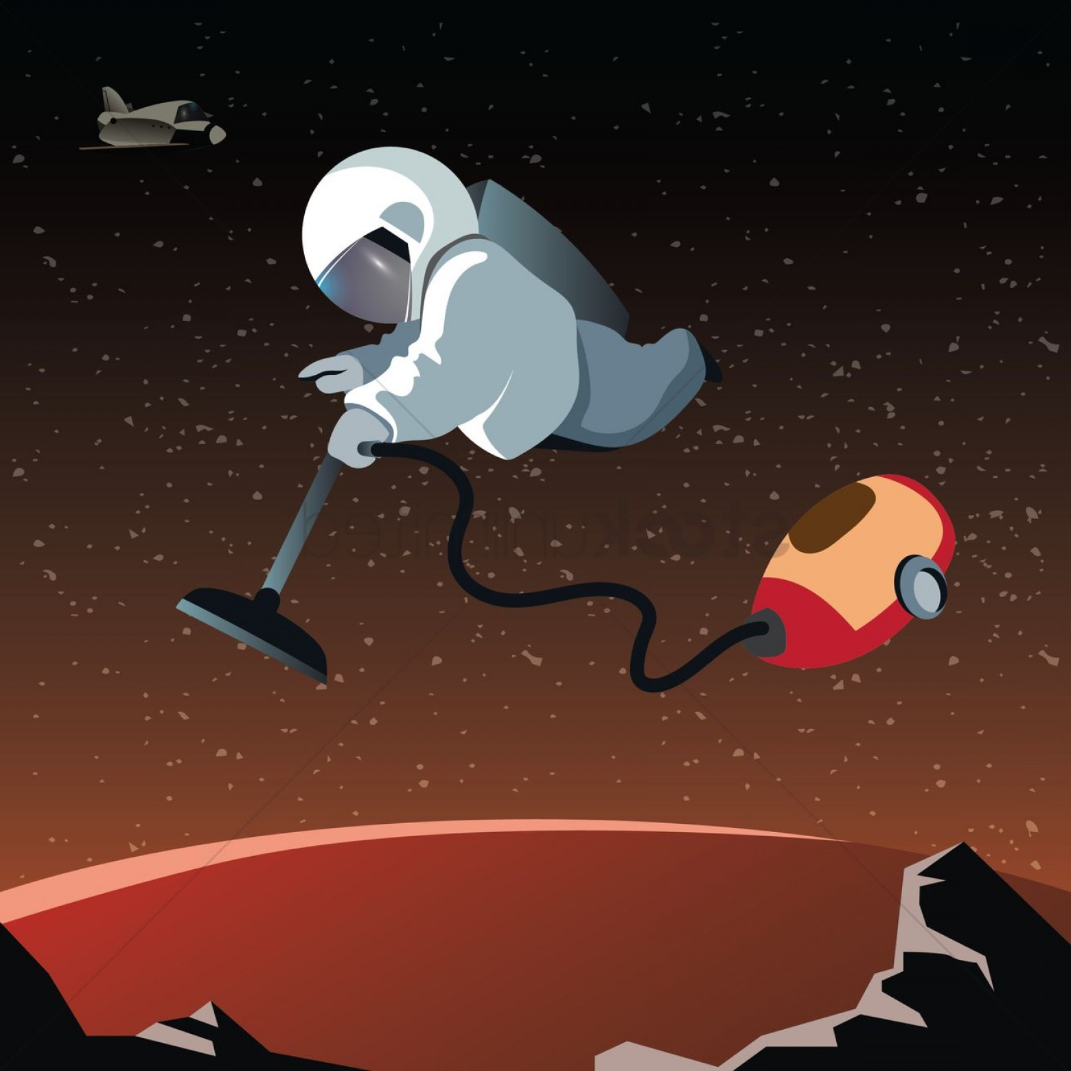 Planets Vector Graphics: Astronaut Floating With A Vacuum On A Planet