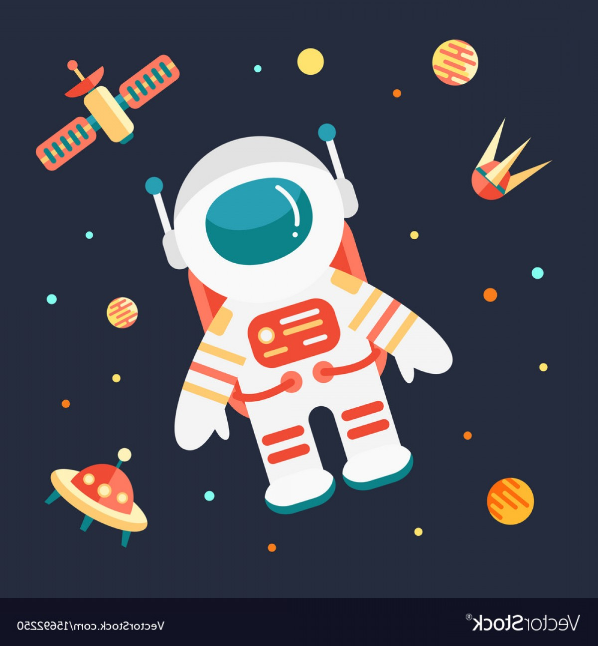 Space Vector Graphics: Astronaut In Outer Space Vector
