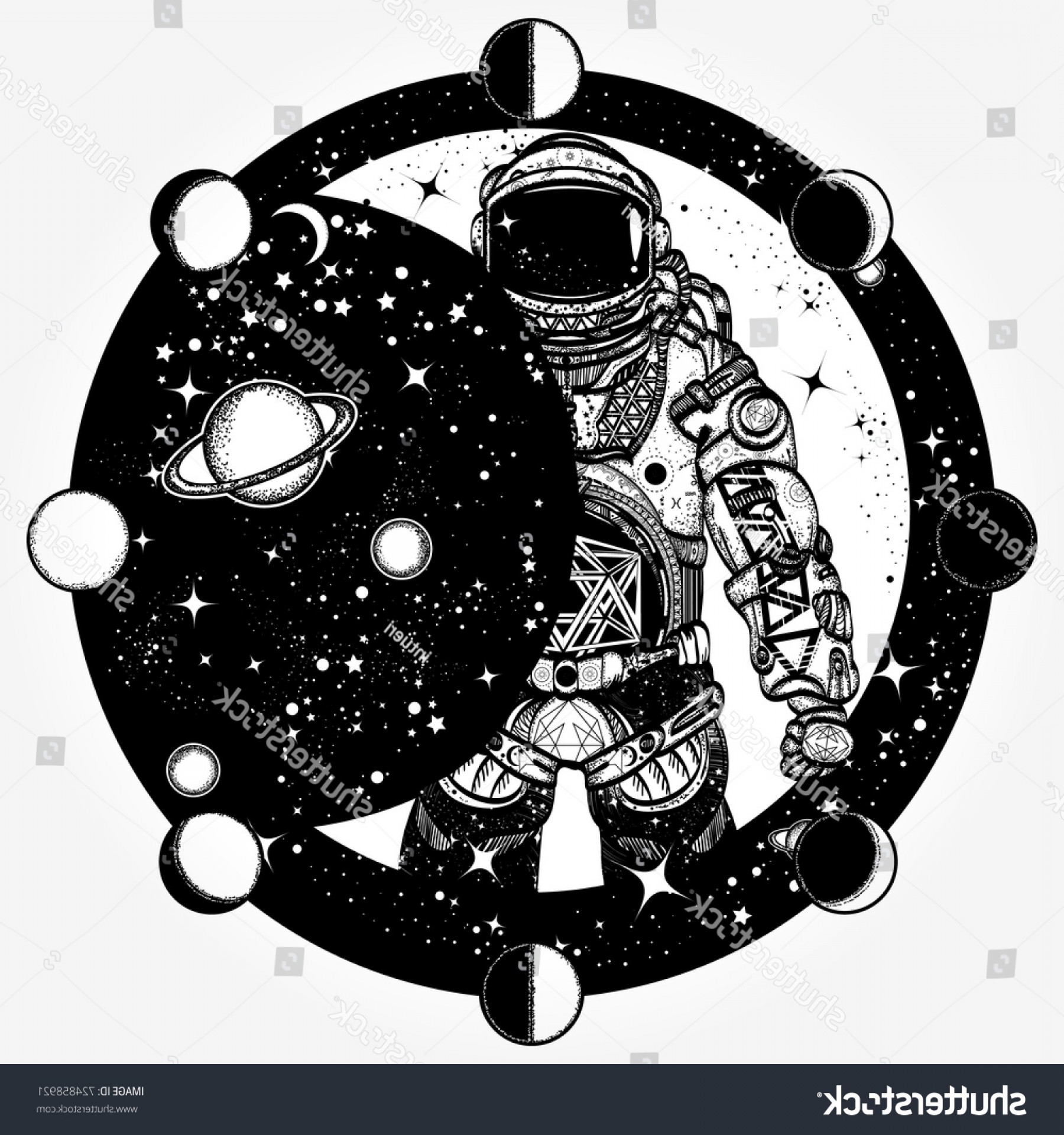 Vector Eclipse Fly Machine: Astronaut Tattoo Tshirt Design Cosmonaut Universe
