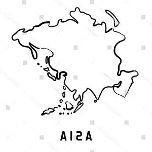 Asia Continent Map Vector: Asia Simple Map Outline Smooth Simplified