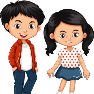 Asian Student Vector: Asian Boy And Girl Standing Vector