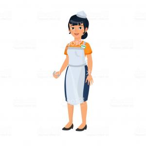 Asian Woman Vector: Attractive Asian Woman Thinking Isolated On Blue Vector
