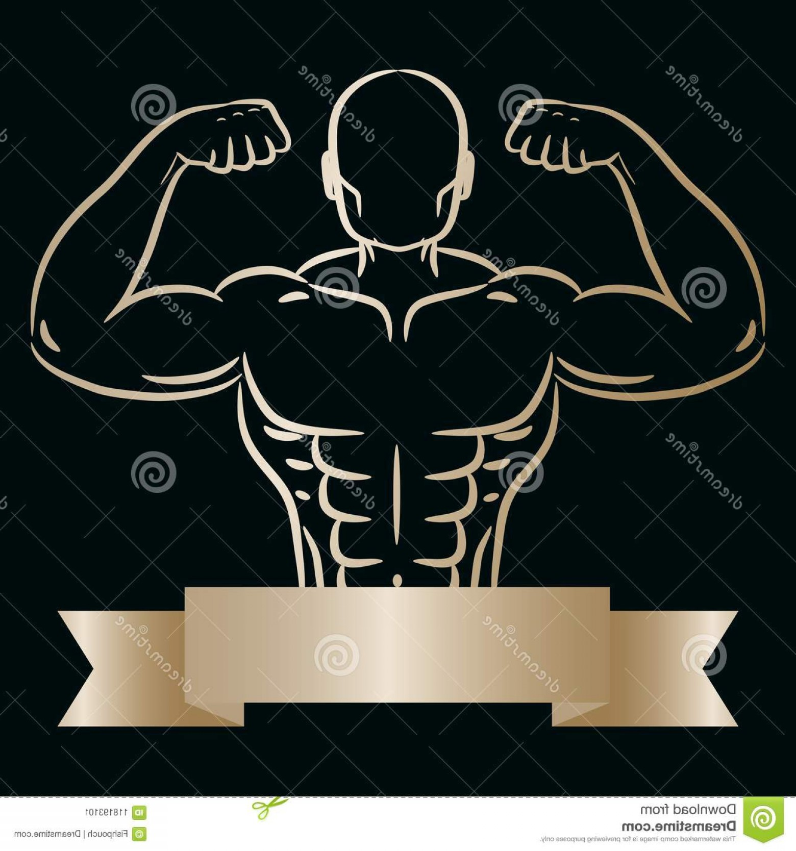 Gold Gym Vector: Athlete Man Gold Sketch Hand Drawn Silhouette Vector Gym Logo Bodybuilder Symbol Banner Ad Template Ribbon Athlete Man Image