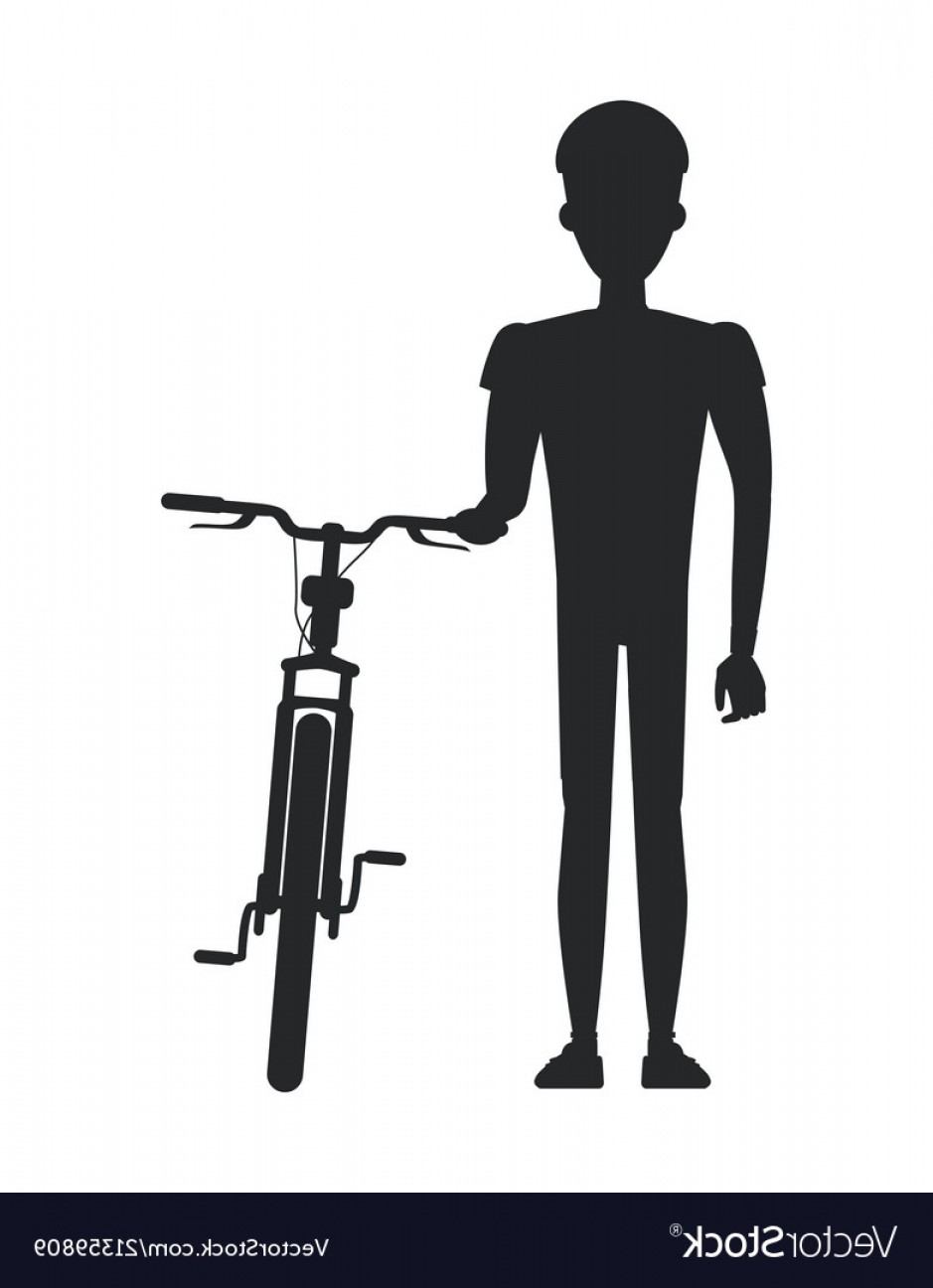 Human Standing Silhouette Vector: Athletic Human Person Black Silhouette Stand Bike Vector