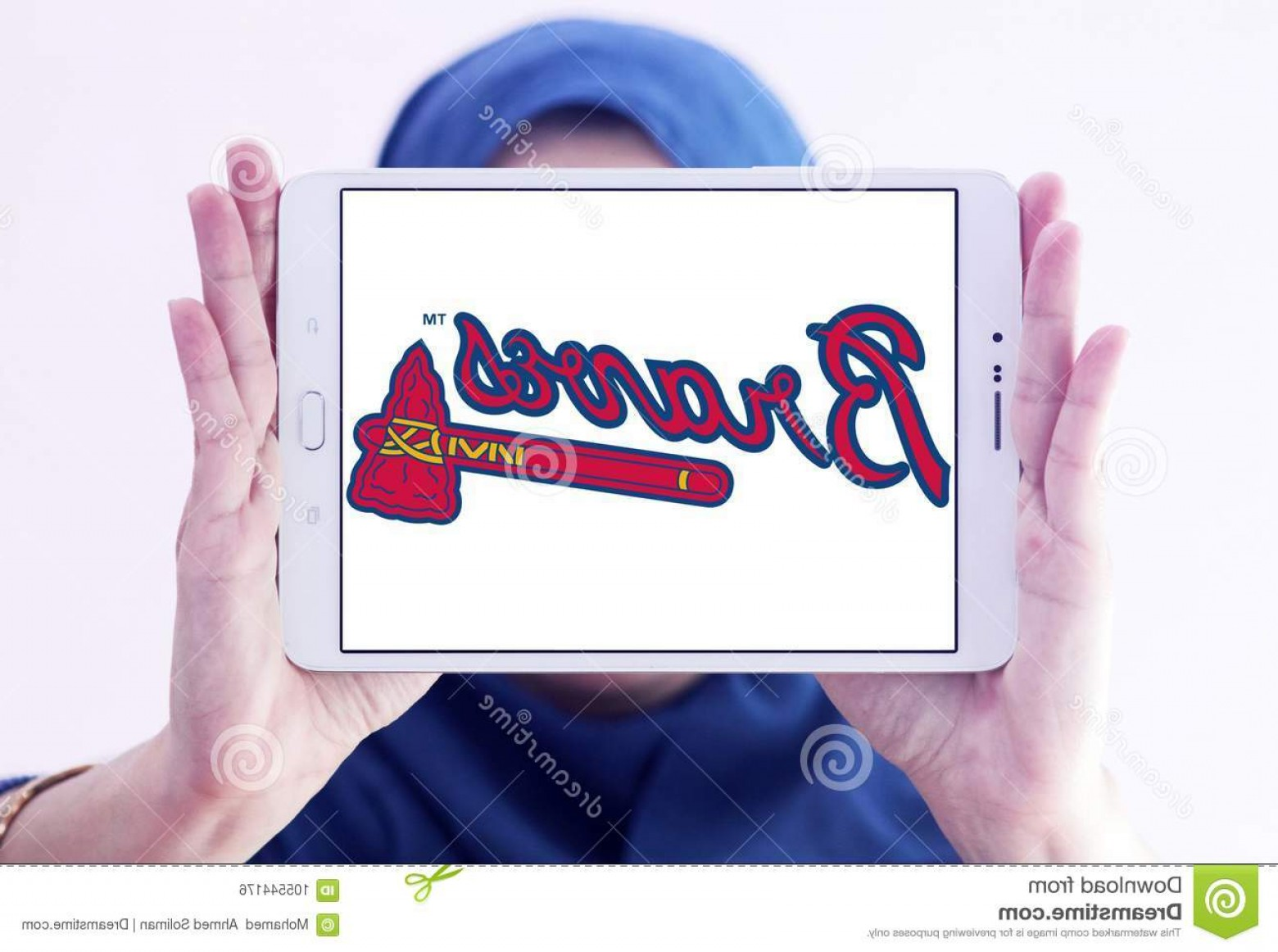 Braves Logo Vector: Atlanta Braves Baseball Team Logo Logo Atlanta Braves Baseball Team Samsung Tablet Holded Arab Muslim Woman Atlanta Image