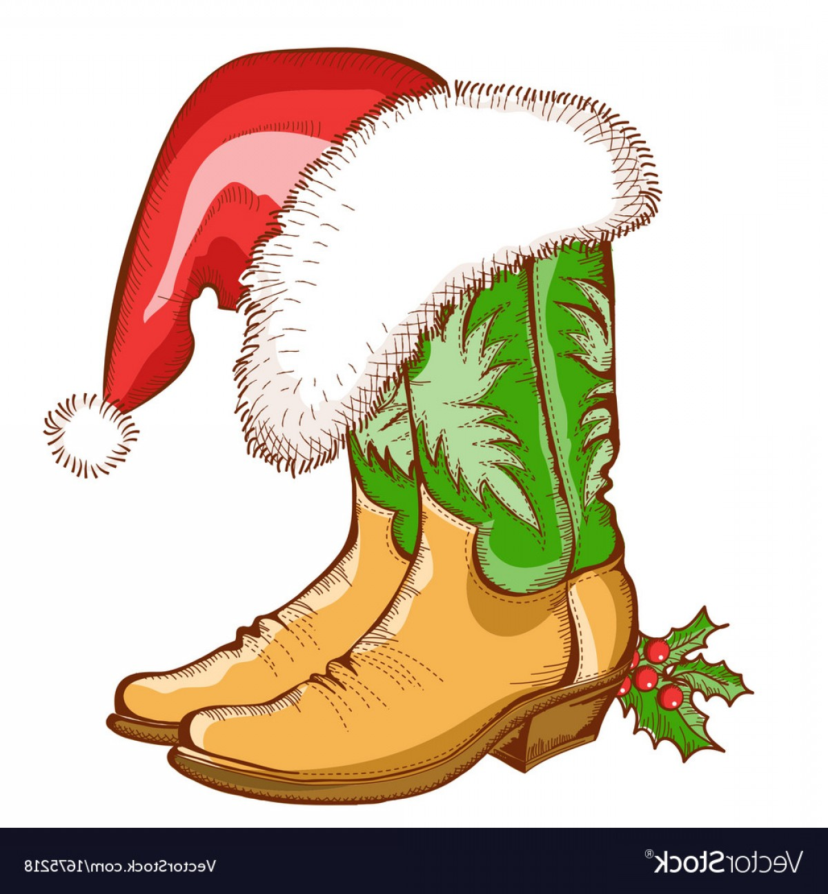 Stocking Hat Vector: Attractive Christmas Cowboy Boots And Santa Hat Vector