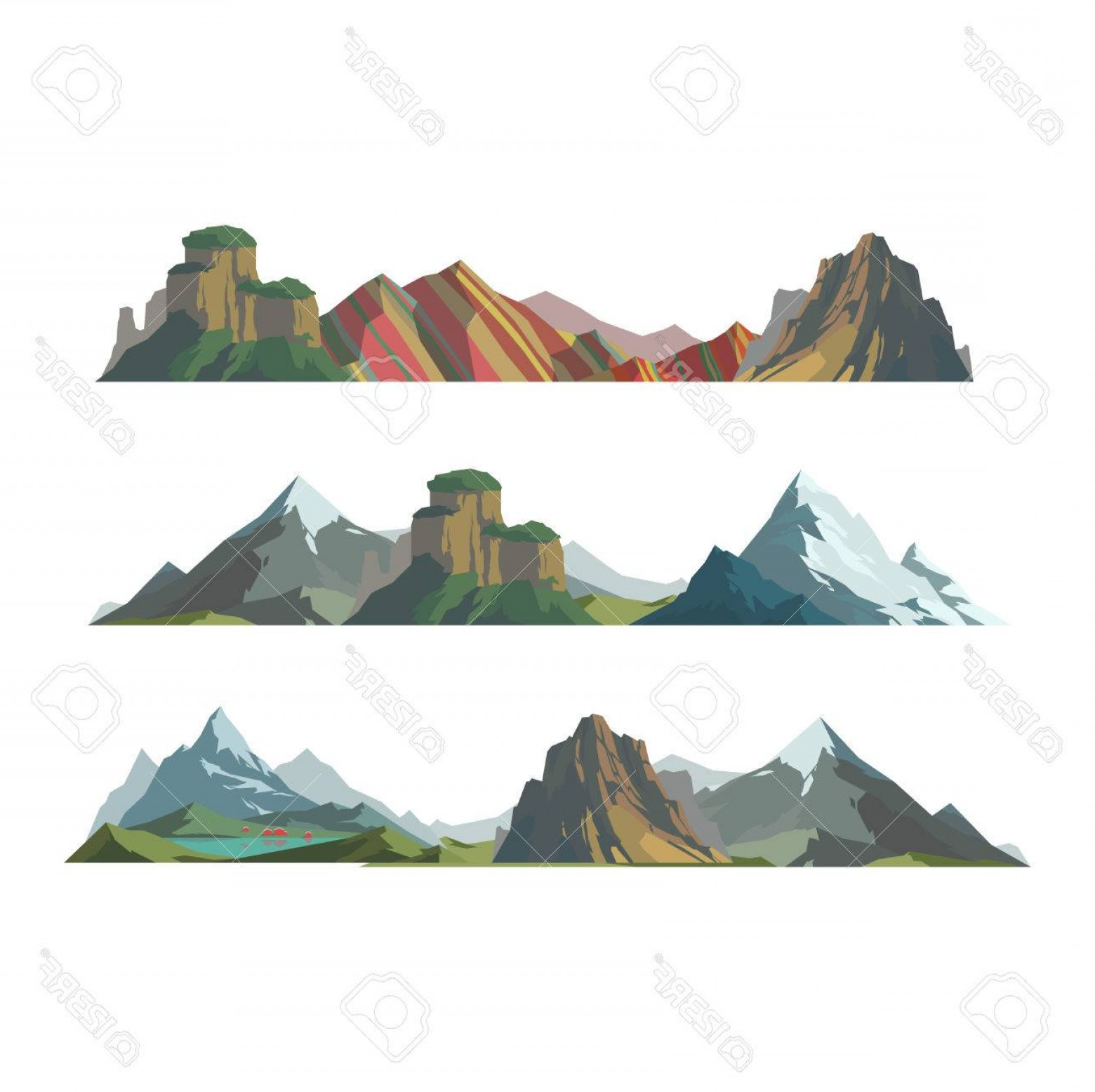 Mountain Range Silhouette Vector Free: Attractive Photostock Vector Mountain Vector Illustration Nature Mountain Silhouette Elements Outdoor Icon Snow Ice Mountain Tops