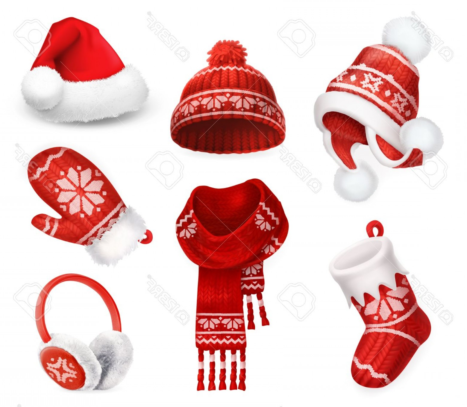 Stocking Hat Vector: Attractive Photostock Vector Winter Clothes Santa Stocking Cap Knitted Hat Christmas Sock Scarf Mitten Earmuffs D Vector Icon