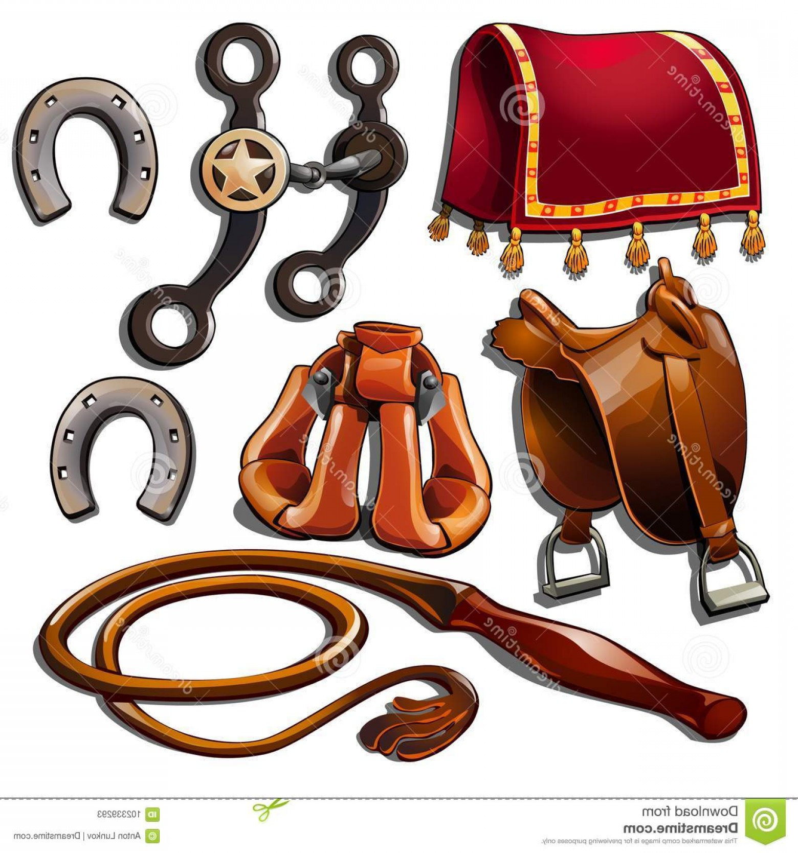 Vector Hinge Western: Attributes Cowboy Horse Accessories Set Seven Wild West Icons Isolated Vector Cartoon Style White Background Image