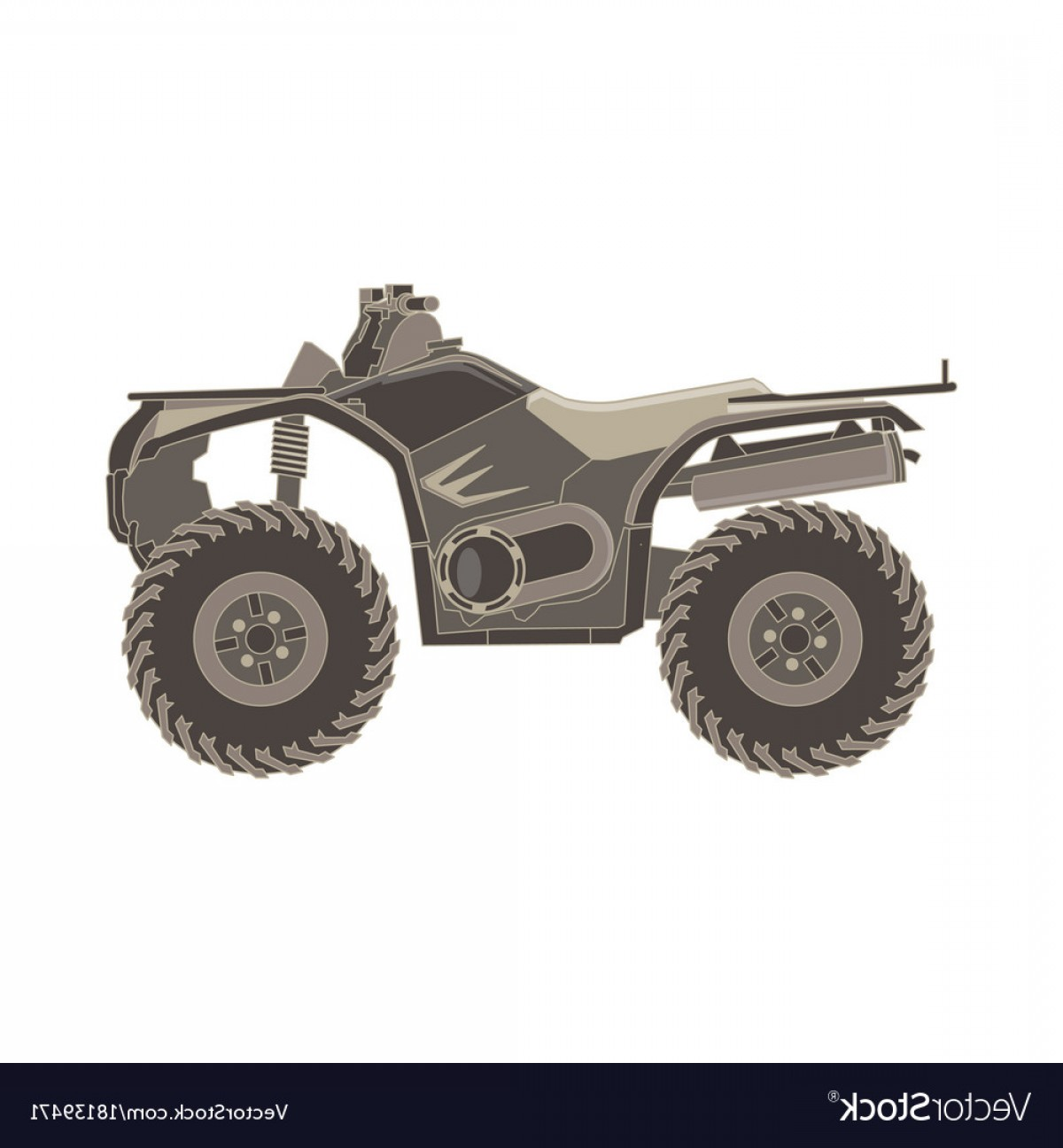 Motorcycle Off-Road Tire Vector: Atv Side View Isolated Icon Off Road Motorcycles Vector