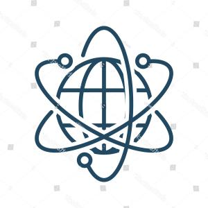 Vector In Science Meaning: Atom Sign Around Globe Vector Icon