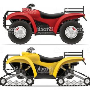 Motorcycle Off-Road Tire Vector: Atv Motorcycle On Four Wheels And Trucks Off Roads Vector Gm