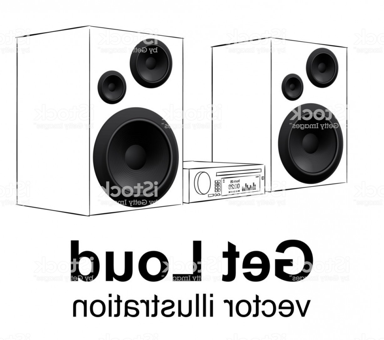 Speakers Vector Black: Audio System Hand Drawing Music Center On White Realistic Speakers Vector Gm