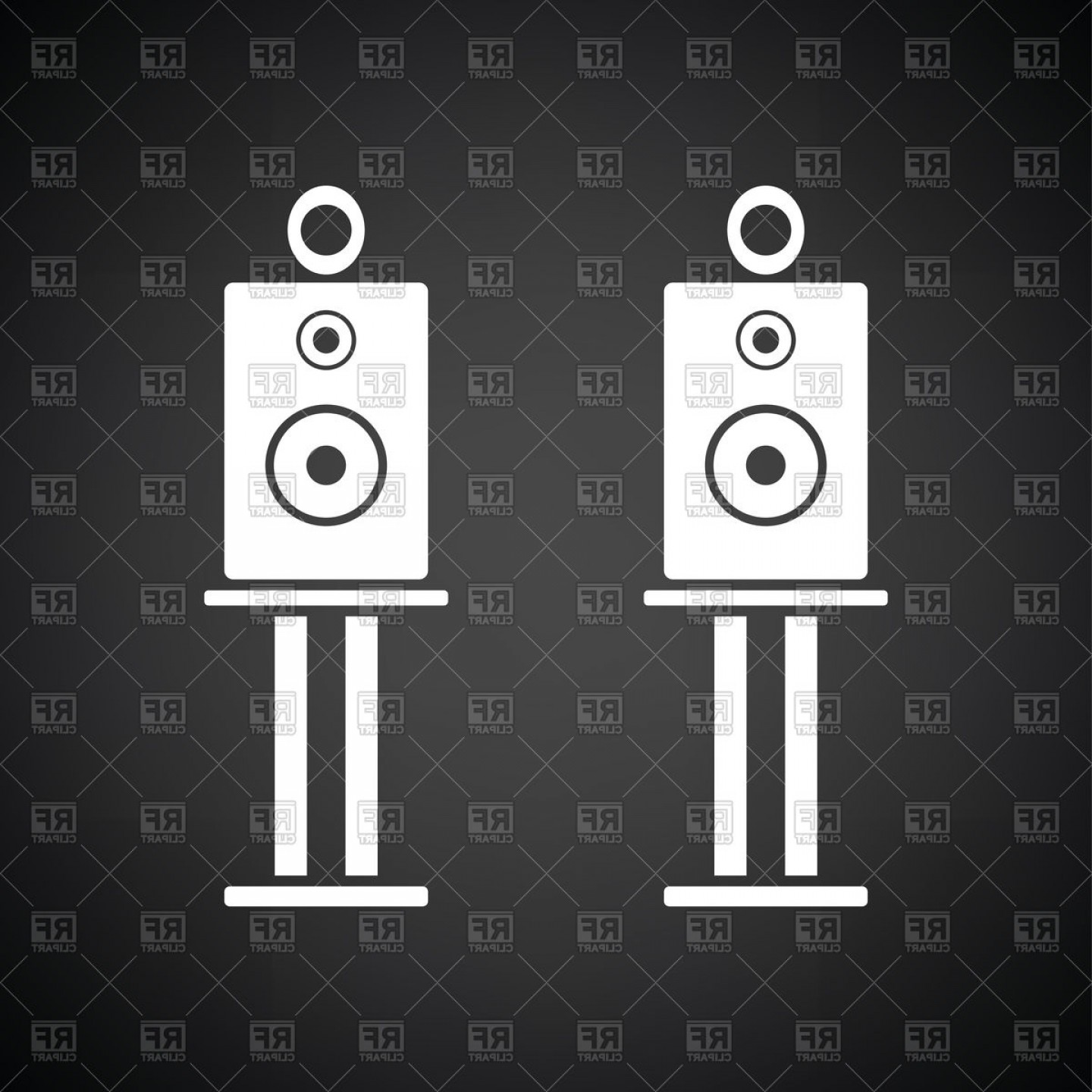 Speakers Vector Black: Audio System Speakers Icon On Black Background Vector Clipart