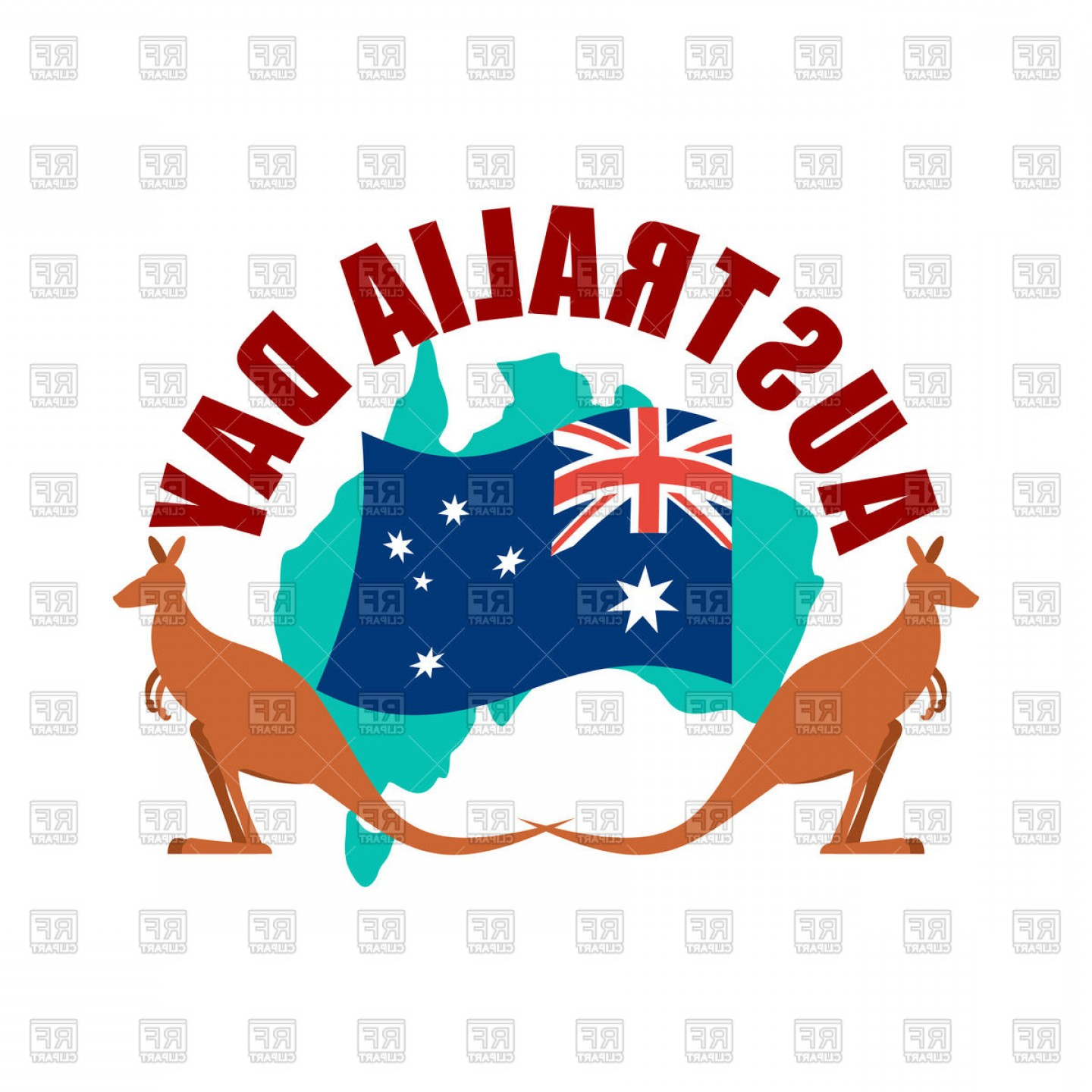 45 Pet Vector Map: Australia Day Emblem Kangaroo And Australian Flag And Map Vector Clipart
