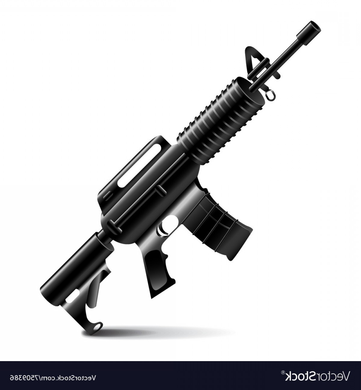 M4 Gun Vector: Automatic Weapon Isolated On White Vector
