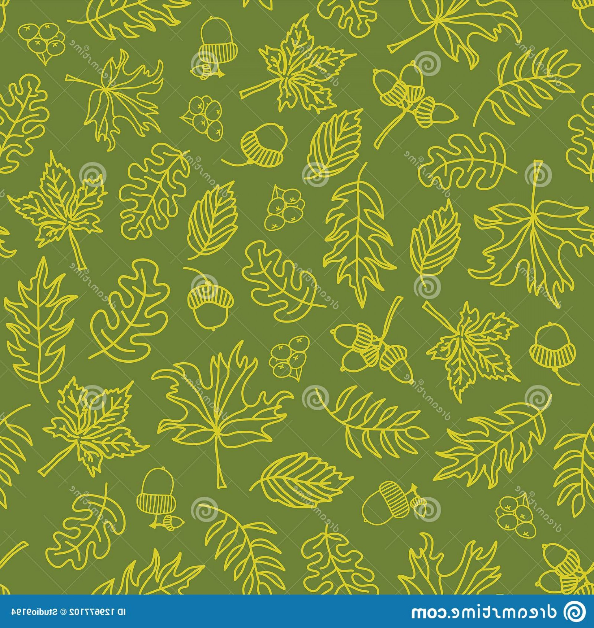 Autumn Seamless Vector: Autumn Doodle Leaves Seamless Vector Background Lime Green Acorns Oak Tree Maple Pattern Acorn Leaf Nature Print Fall Image