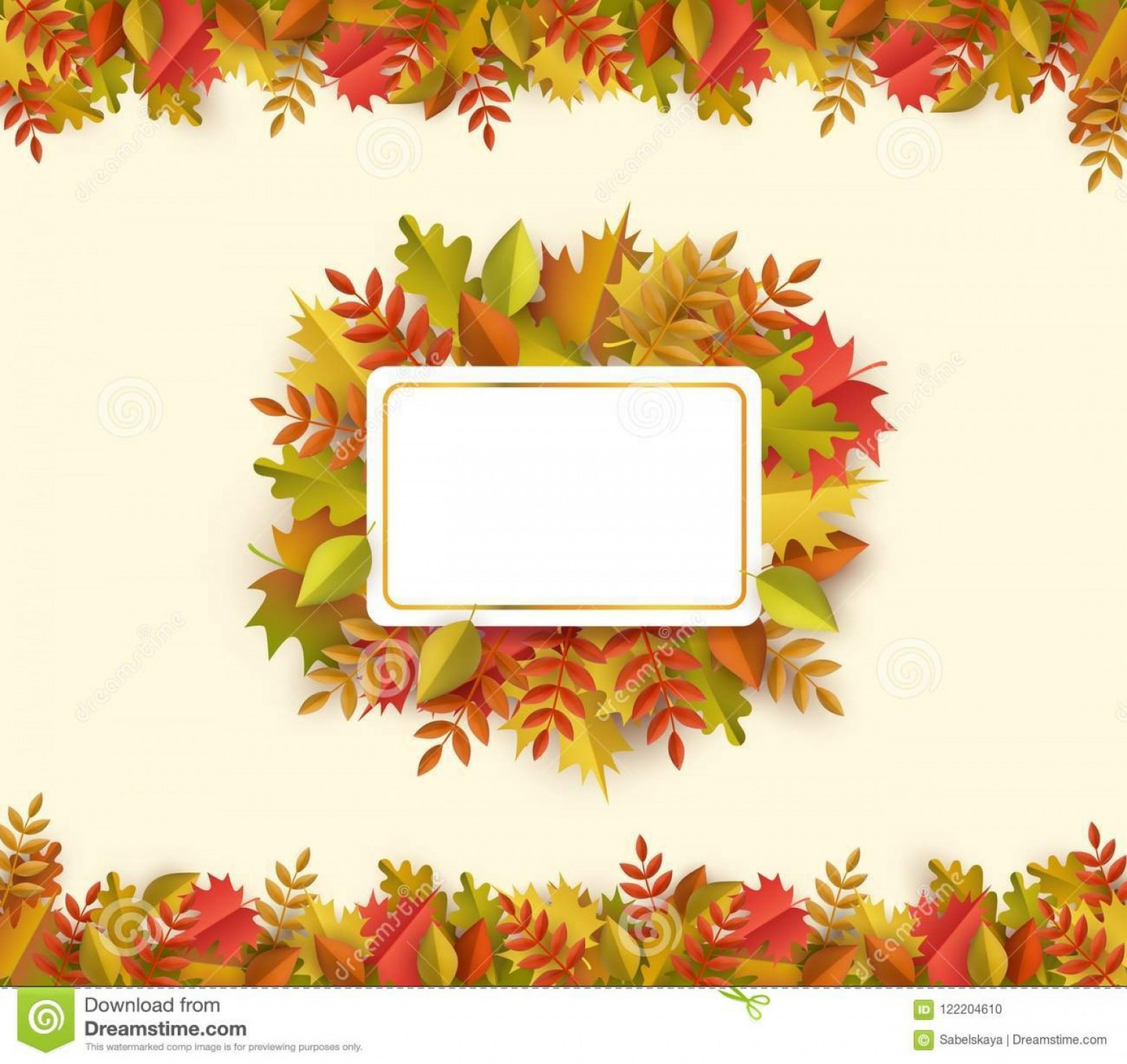 Thanksgiving Border Vector: Autumn Leaves Square Border Frame Background Space Text Seasonal Floral Maple Oak Tree Orange Leaves Thanksgiving Holiday Image