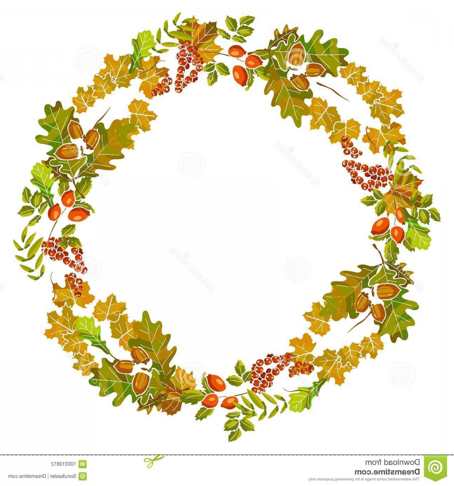 Foliage Vector: Autumn Leaves Wreath Decoration Fall Leaf Foliage Vector Design Template Thanksgiving Seasonal Sale Maple Chestnut Birch Image