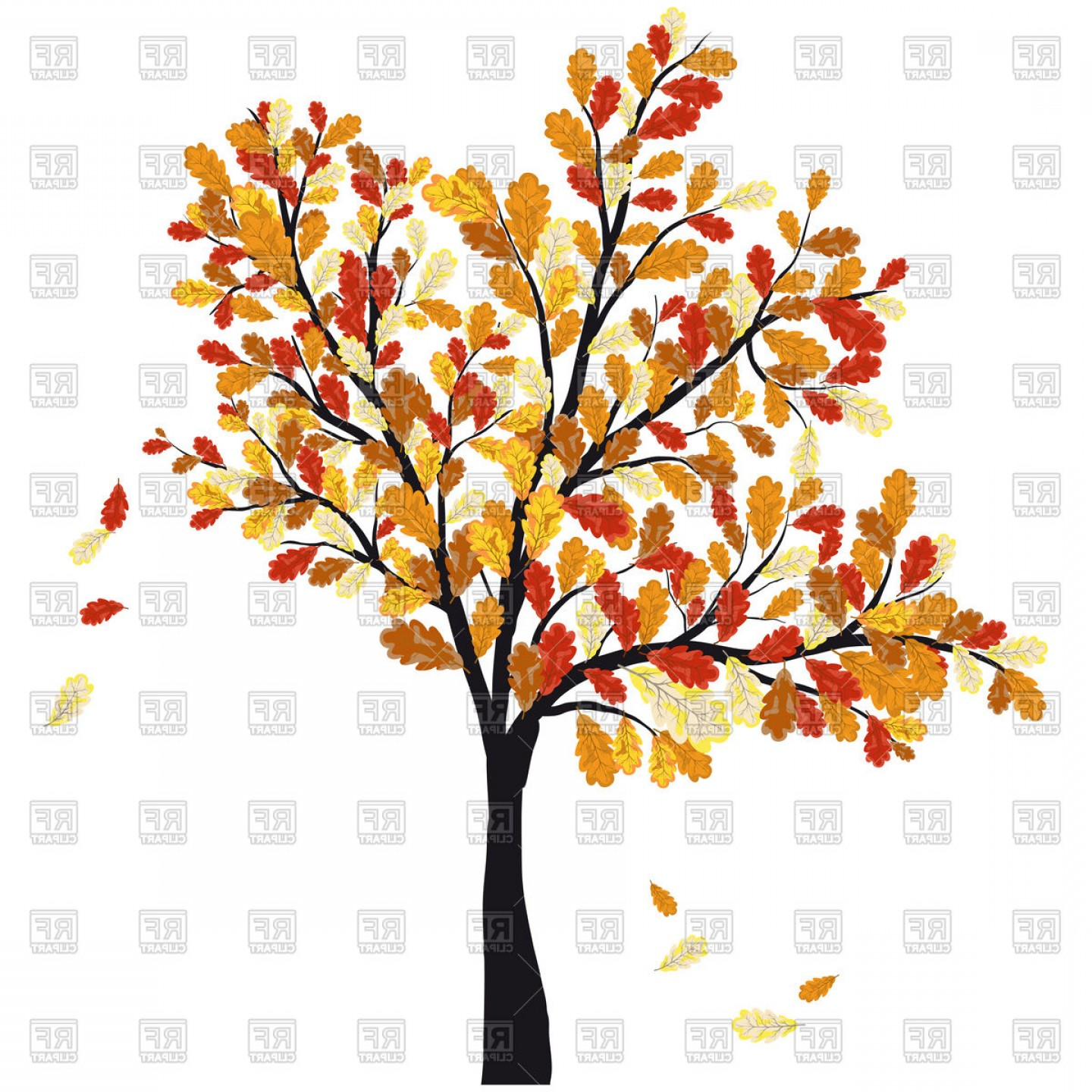 Oak Leaf Vector Clip Art: Autumn Oak Tree With Falling Leaves Vector Clipart
