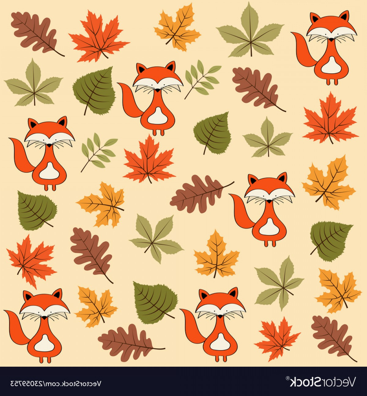 Autumn Seamless Vector: Autumn Seamless Pattern With Leaves And Foxes Vector