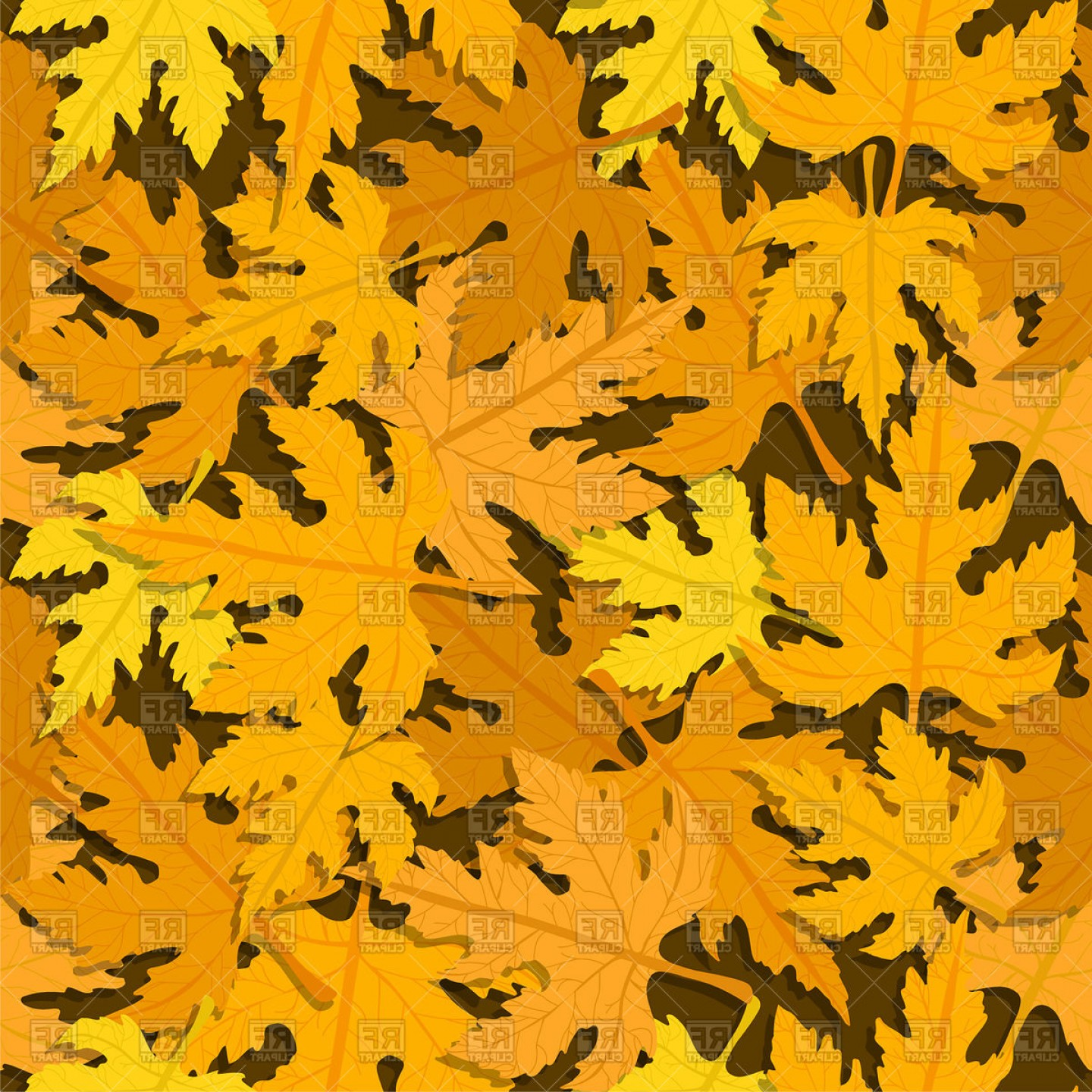 Autumn Seamless Vector: Autumn Seamless Pattern With Maple Leaves Vector Clipart