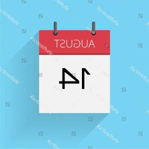 Vector Calendar Icon December 14th: August Daily Calendar Icon Date