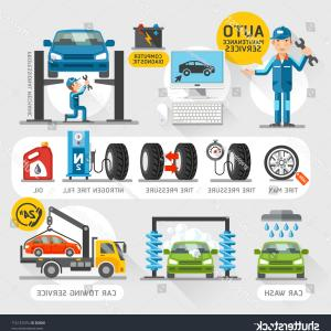 Vector Graphix: Auto Maintenance Services Icons Vector Illustration