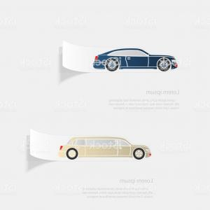 Auto Mobile Vector Art: Automobile Flat Sticker With Shadow On White Background Gm