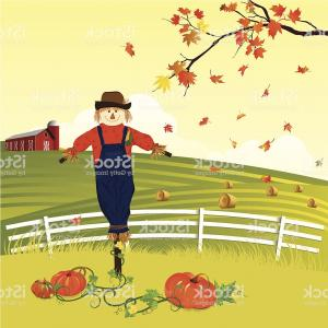 Scarecrow Vector Art: Autumn Field With Scarecrow And Pumpkins Gm