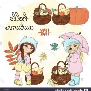Vector Baby Book: Autumn Vector Illustration Set Color Hello Autumn For Scrapbooking Babybook And Digital Print On Card And Photo Children Album Image
