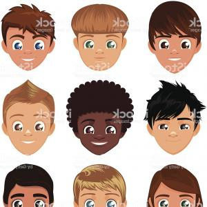 Vector Cartoon Boy Head: Avatar Avatars Little Boys Head Faces Profile Cartoon Character Set Gm
