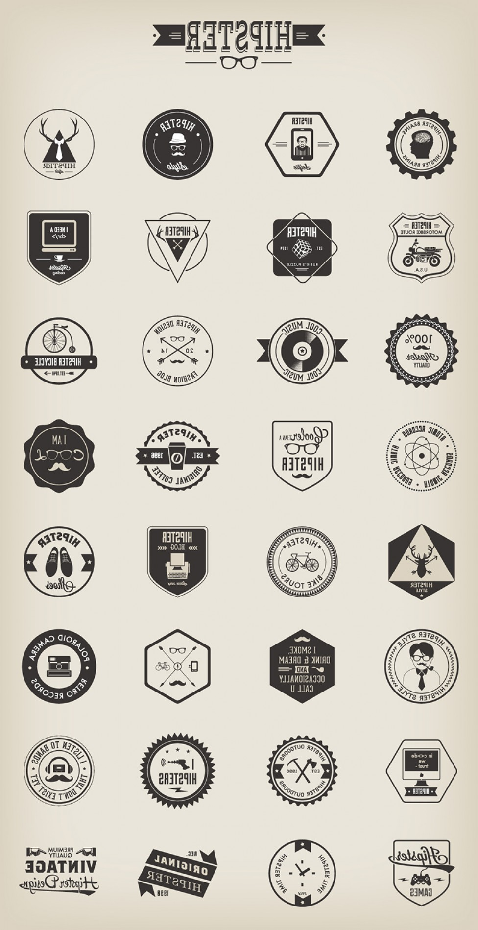 Free Vector Hipster: Awesome Free Vector Hipster Badges