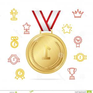 3D Vector Award Winner: Award Winner Concept Vector Realistic Detailed D Gold Medal Color Outline Icons Include Tag Mic Cup Illustration Image