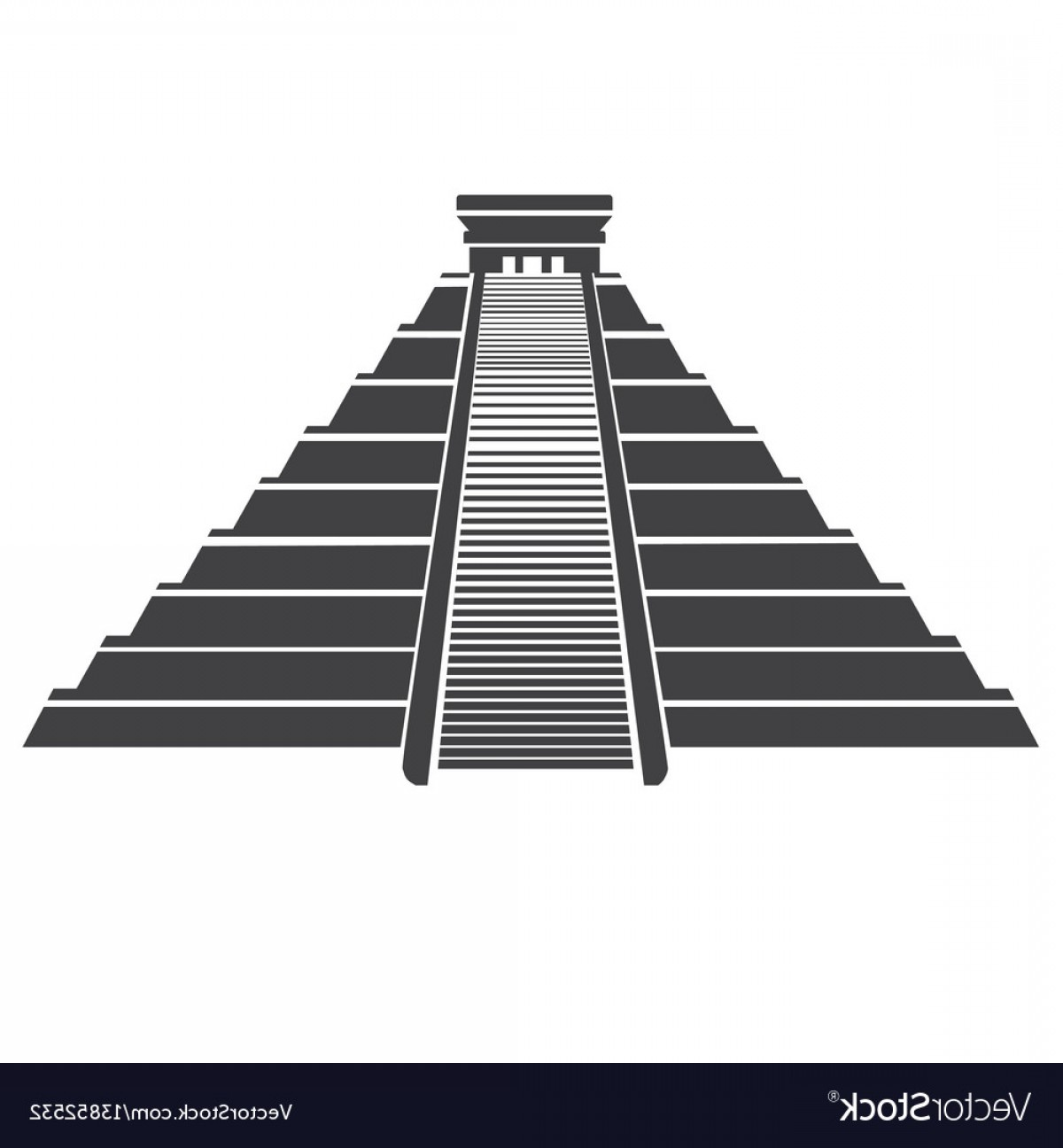 Maya Pyramid Vector: Aztec Pyramid Icon Isolated On Whit Mayan Vector