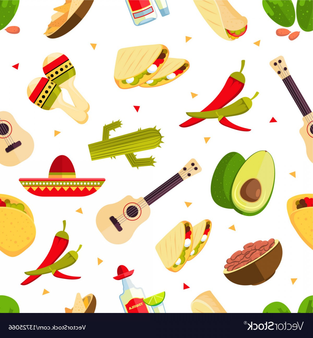 Aztec Cactus Vector: Aztec Theme Cartoon Mexican Food Tequila Red Vector