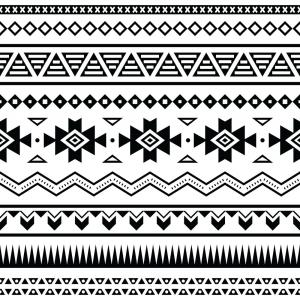 Simple Aztec Pattern Vector: Aztec Tribal Seamless Pattern Designs Vector