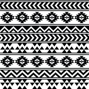Vector Black Tribal: Aztec Tribal Seamless Black And White Pattern Vector