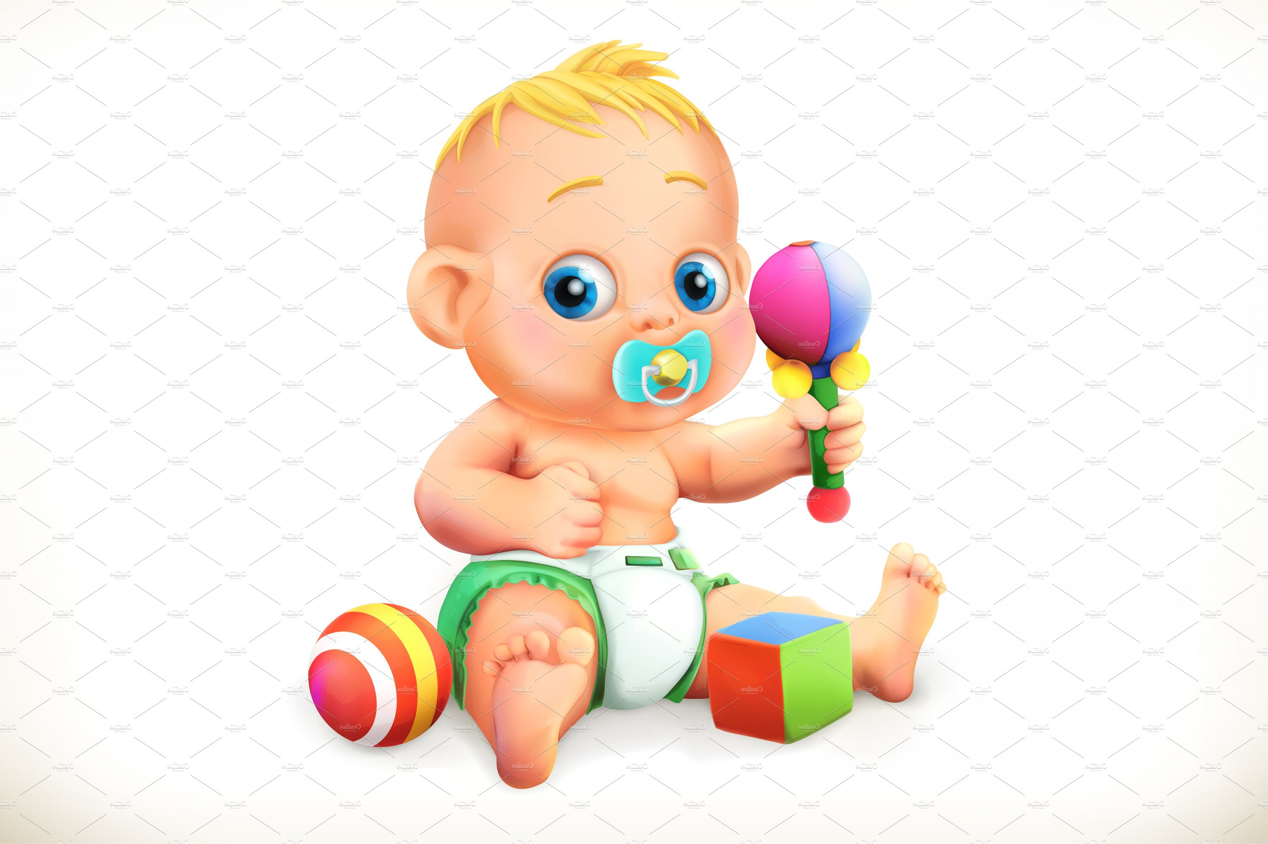 Baby Vector Illustration: Baby And Toys Vector Icon