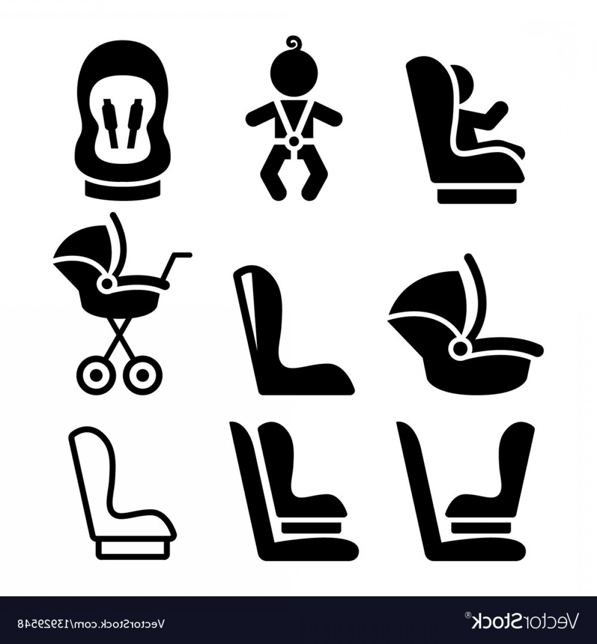 Vector Baby Seat: Baby Car Seat Toddle Car Seat Safe Child Travel Vector