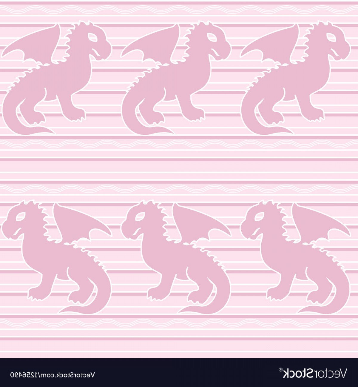 Baby Dragon Silhouette Vector: Baby Dragon Seamless Pattern Vector