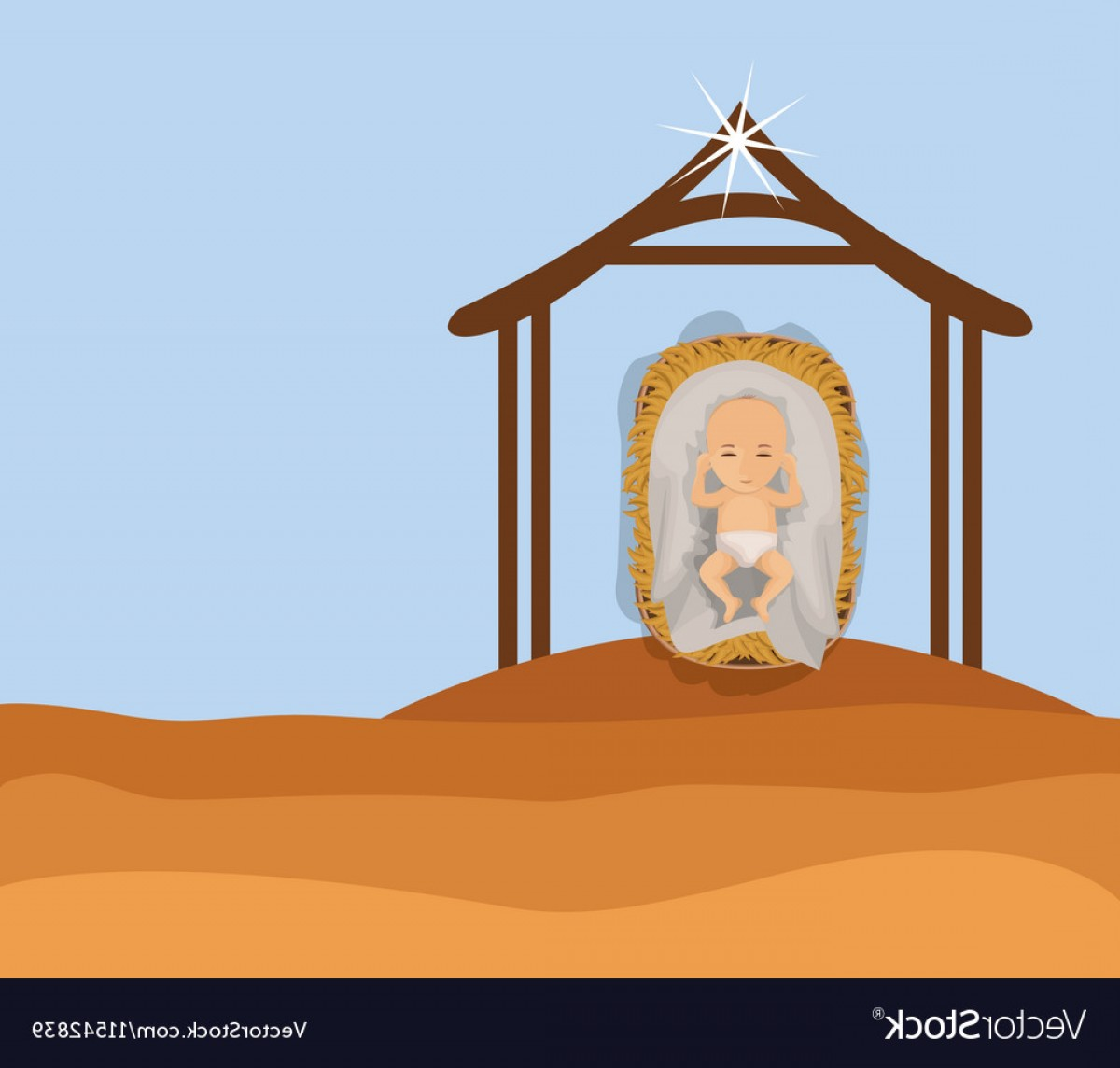 Vector Holy Shrine: Baby Jesus Cartoon Of Holy Night Design Vector
