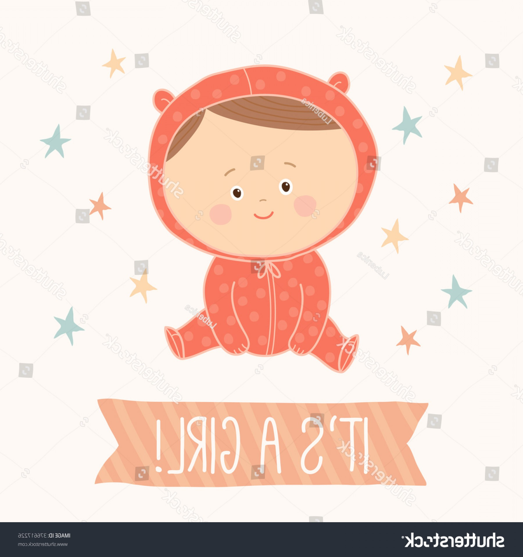 Sitting Monkey Vector Baby Shower: Baby Shower Card Girl Cute Sitting